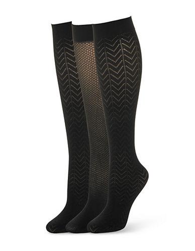 CALVIN KLEINThree Pack Chevron Patterned Knee High Socks