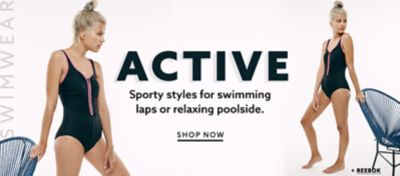 Reebok black-and-white sport onepiece swimsuit at lordandtaylor.com.