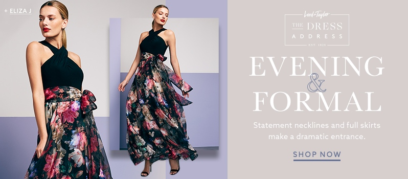 eliza j cross top gown with floral printed skirt and more eveningwear at lordandtaylor