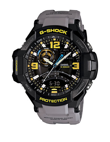 G-SHOCK BABY G Mens Charcoal and Yellow Aviation Watch