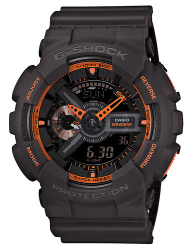 G-SHOCK BABY G Men's Analog-Digital Black Watch with Orange Accents