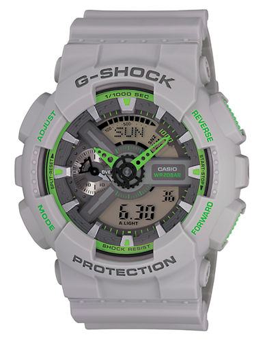 G-SHOCK BABY G Men's Analog-Digital Gray Watch with Green Accents