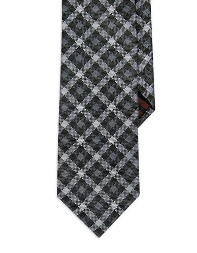 BLACK BROWN 1826Checkered Silk Tie