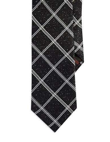 BLACK BROWN 1826Windowpane Silk Tie