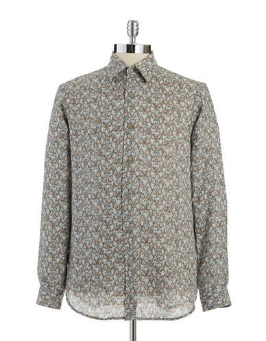 BLACK BROWN 1826Linen Button-Down Shirt