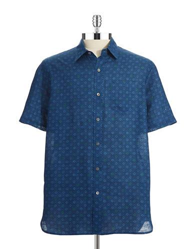 BLACK BROWN 1826Linen Patterned Sport Shirt