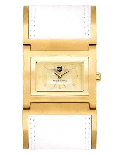 Ladies' Goldtone & White Bangle Watch