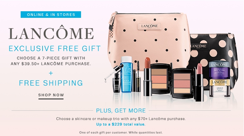 Receive a free 7-piece bonus gift with your $39.5 Lancôme purchase