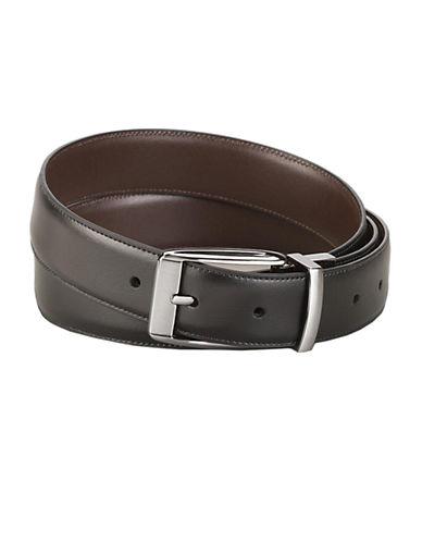 PERRY ELLISFeathered Edge Leather Dress Belt