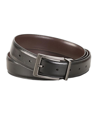 PERRY ELLIS Reversible Leather Dress Belt With Square-Nose Buckle