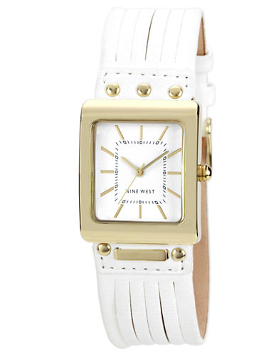 Women's Gold-Tone Square White Dial and White Strap Watch