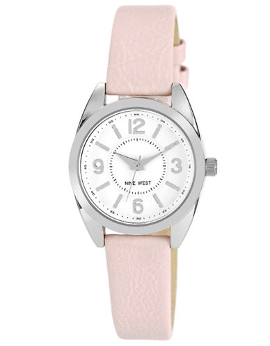 Women's Round Silver-Tone & Pink Blush Quartz Watch