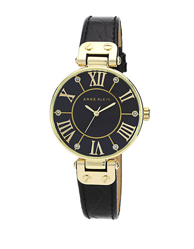 ANNE KLEIN Ladies Black and Gold Tone Watch with Genuine Leather Strap