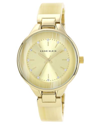 ANNE KLEINLadies Gold Tone Watch with Horn Bangle Bracelet