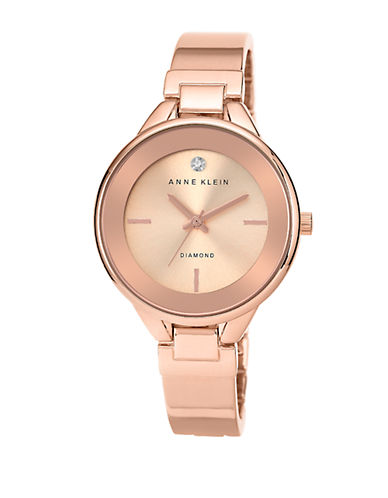 ANNE KLEINLadies Round Rose Gold Tone Bangle Bracelet Watch