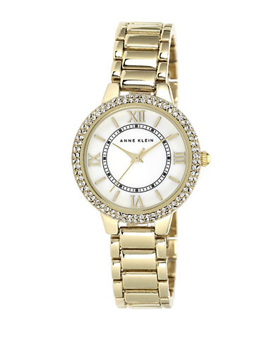 anne klein female ladies goldtone swarovski crystal quartz watch