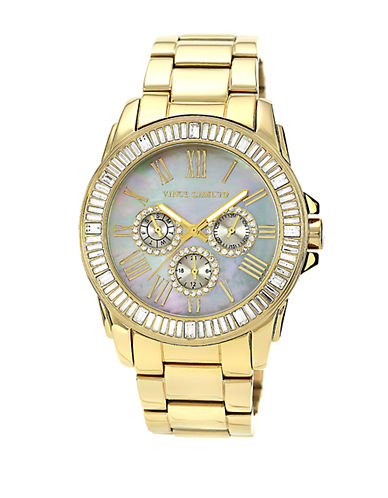 VINCE CAMUTO Ladies Gold Tone and Swarovski Crystal Baguette Bracelet Watch