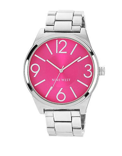 NINE WESTLadies Silver-Tone Round Bracelet Watch with Pink Dial
