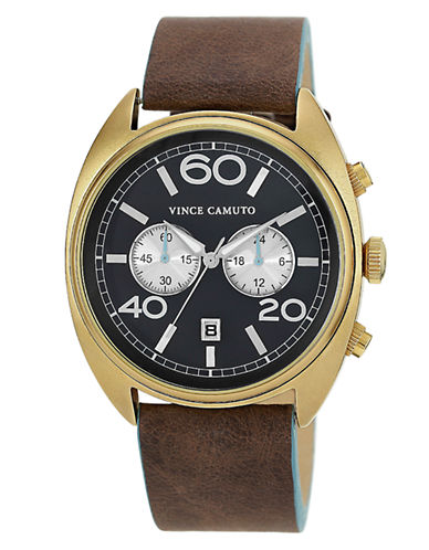 VINCE CAMUTOMen's Gold-Tone & Brown Strap Watch