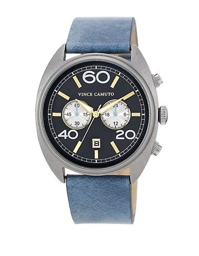 VINCE CAMUTOMen's Silver-Tone & Sky Blue Strap Watch