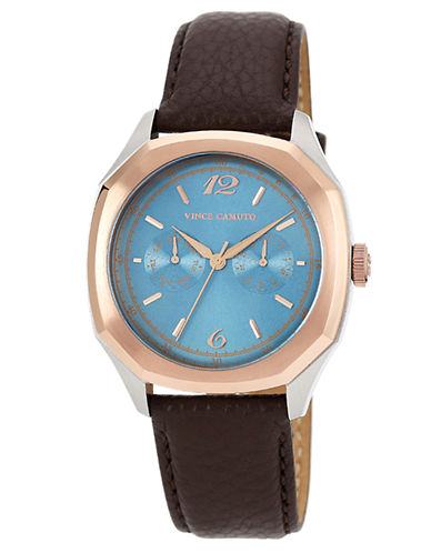 VINCE CAMUTOMen's Two-Tone Octagonal & Brown Leather Strap Watch