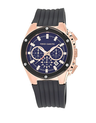 VINCE CAMUTOMen's Rose Gold-Tone & Silicon Strap Watch