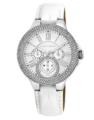 VINCE CAMUTOLadies Crystallized Silver Tone and White Leather Strap Watch