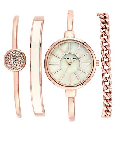 ANNE KLEINLadies Rose Gold Tone Watch with Four Interchangeable Straps