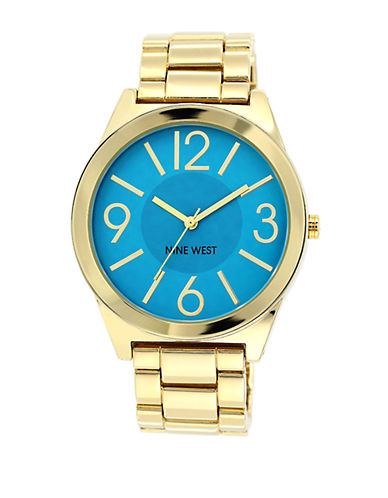 NINE WEST Ladies Gold Tone and Turquoise Bracelet Watch