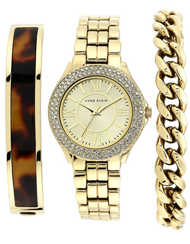ANNE KLEINLadies Gold Tone and Swarovski Crystal Watch with Three Interchangeable Straps