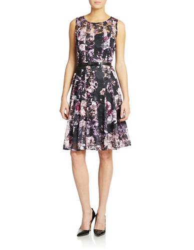 CHETTA B Belted Floral Dress