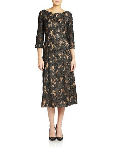 ALEX EVENINGSRosette Lace Tea-Length Dress