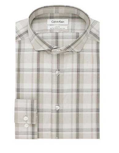 CALVIN KLEINSlim Fit Plaid Non Iron Dress Shirt