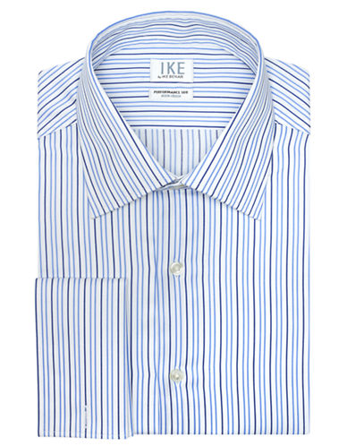 IKE BY IKE BEHAR Classic Fit Twill Stripe Dress Shirt