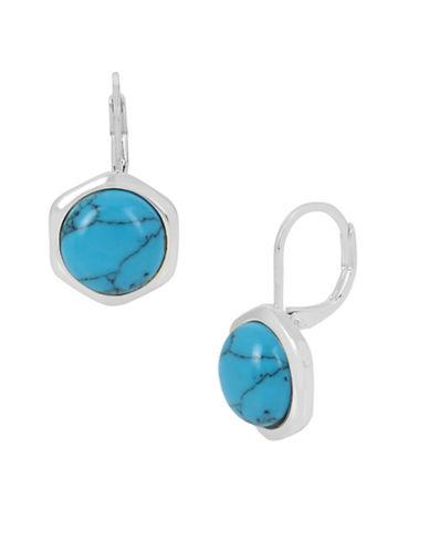 Hexed Geometric Semi-Precious Turquoise Drop Earrings
