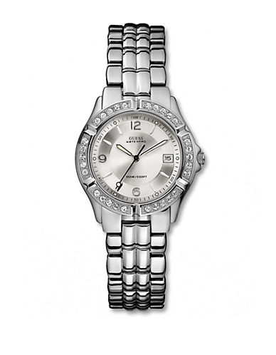 GUESS Ladies Stoned Bubble Stainless Steel Watch