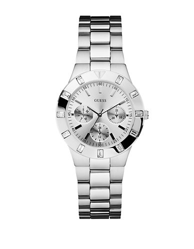GUESSLadies Silver Tone and Crystal Chronograph Watch