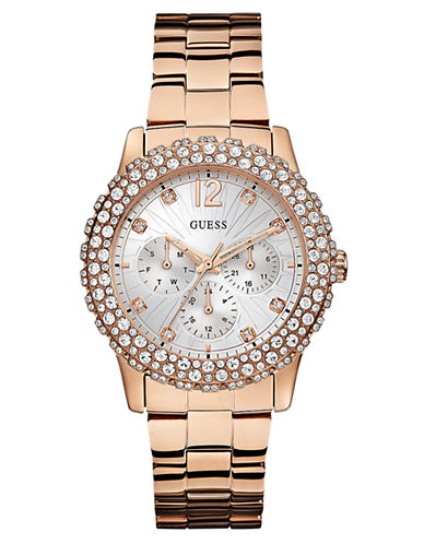 GUESS Ladies Shimmering Sport Rose Gold-Tone and Crystal Watch