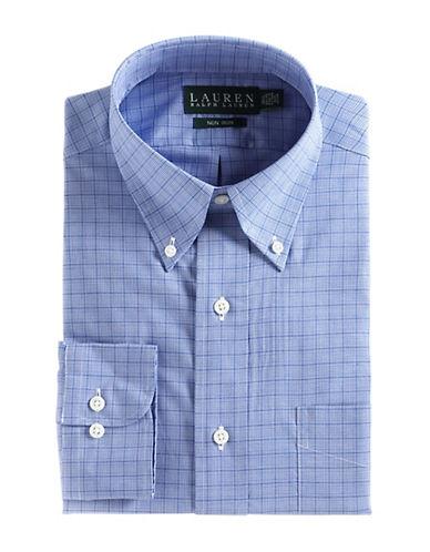 LAUREN RALPH LAURENFitted Plaid Cotton Dress Shirt
