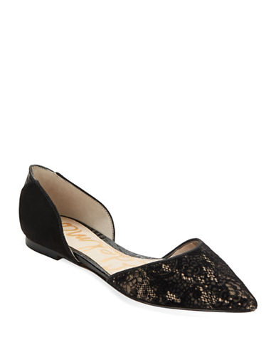 SAM EDELMAN Riley Suede And Lace D'Orsay Flats