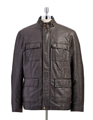 PERRY ELLIS Faux Leather Four-Pocket Bomber Jacket