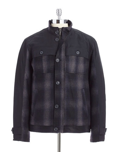 PERRY ELLIS Mixed Media Plaid Utility Coat