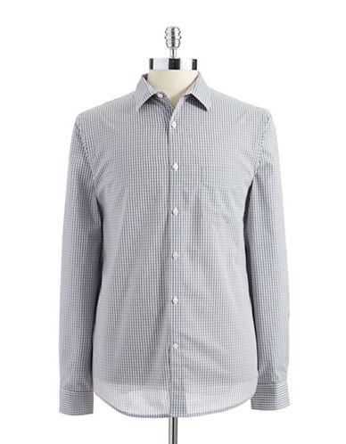 PERRY ELLISMicro Gingham Check Slim Fit Sport Shirt