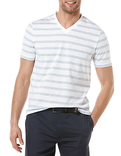 PERRY ELLISModern Fit Heathered Stripe T-Shirt