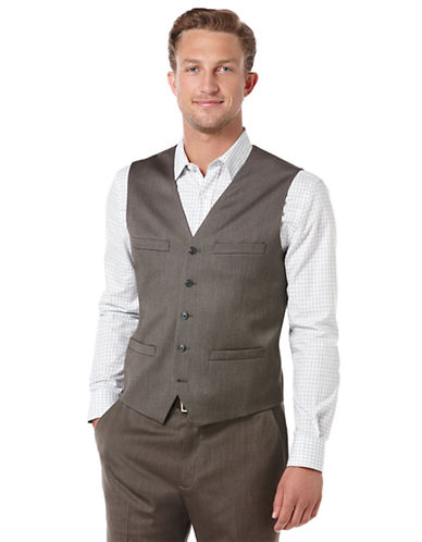 PERRY ELLISDobby Twill Textured Stripe Vest