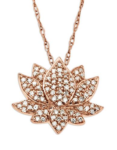 LORD & TAYLOR14 Kt. Rose Gold Diamond Lotus Flower Pendant