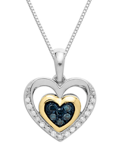 LORD & TAYLOR Sterling Silver with 14K Yellow Gold Green Diamond and Diamond Heart Pendant