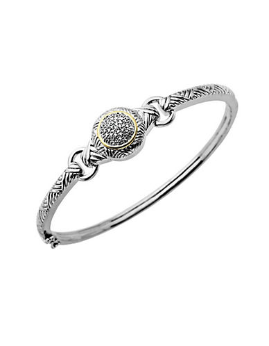 Lord & Taylor Sterling Silver with 14Kt. Yellow Gold Diamond Bangle Bracelet