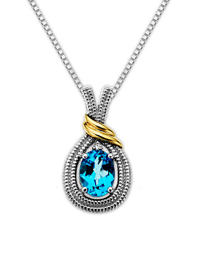 LORD & TAYLORSterling Silver Necklace with 14Kt. Yellow Gold Blue Topaz & Diamond Pendant