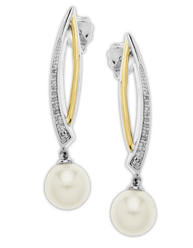 LORD & TAYLORSterling Silver and 14Kt. Yellow Gold Freshwater Pearl and Diamond Drop Earrings